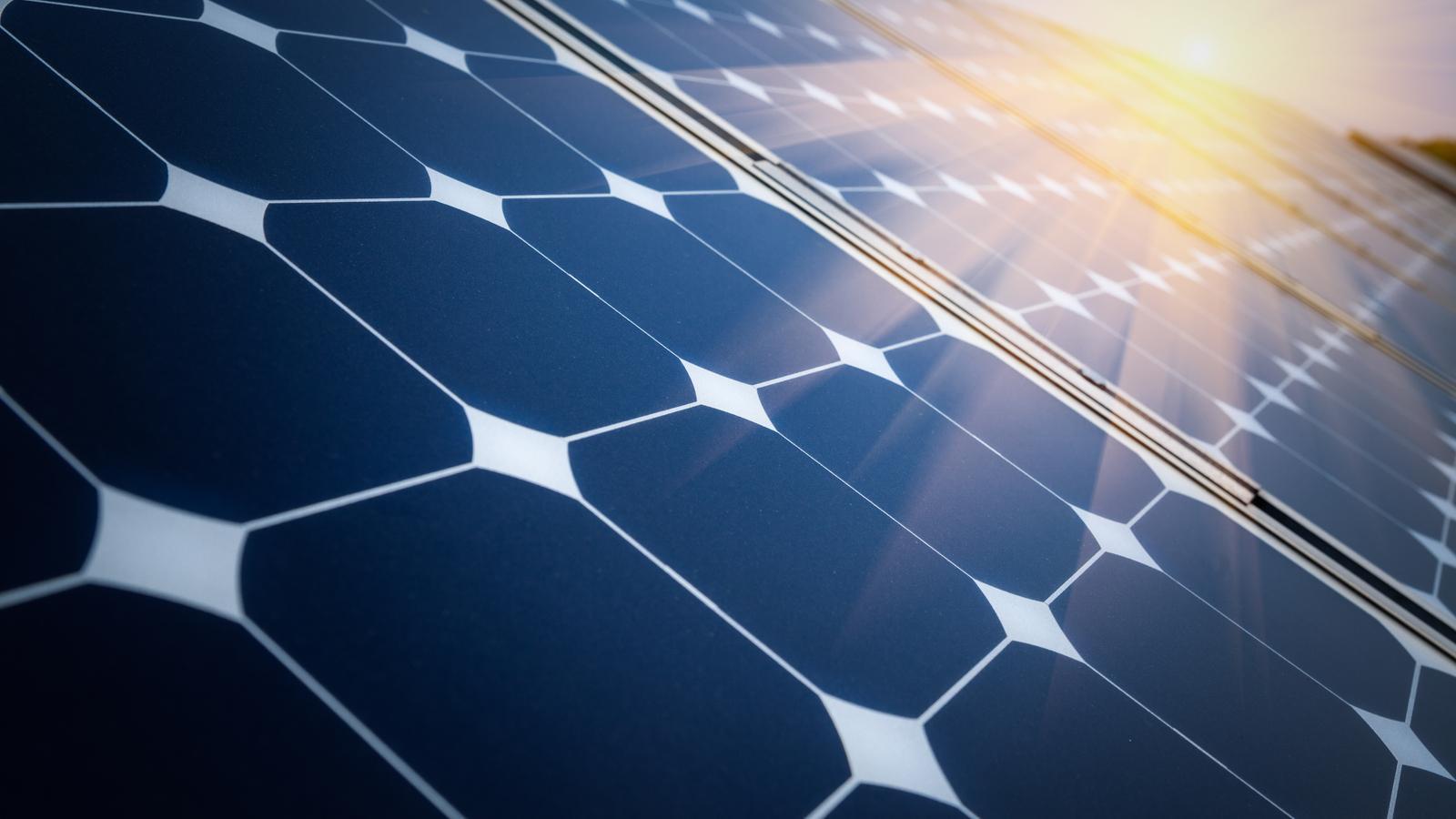 Solar Panel with Sun Shining